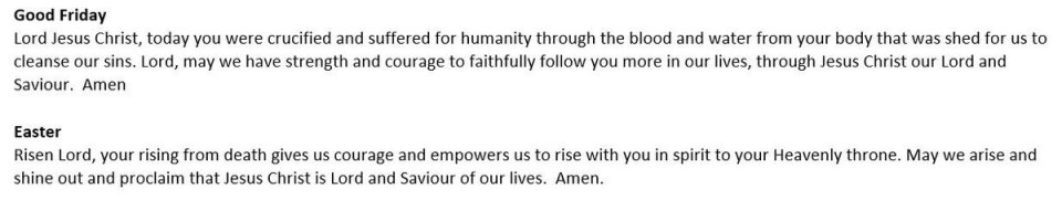 Easter prayers written by the Mothers' Union in Melanesia for us here in the UK….. #Easter