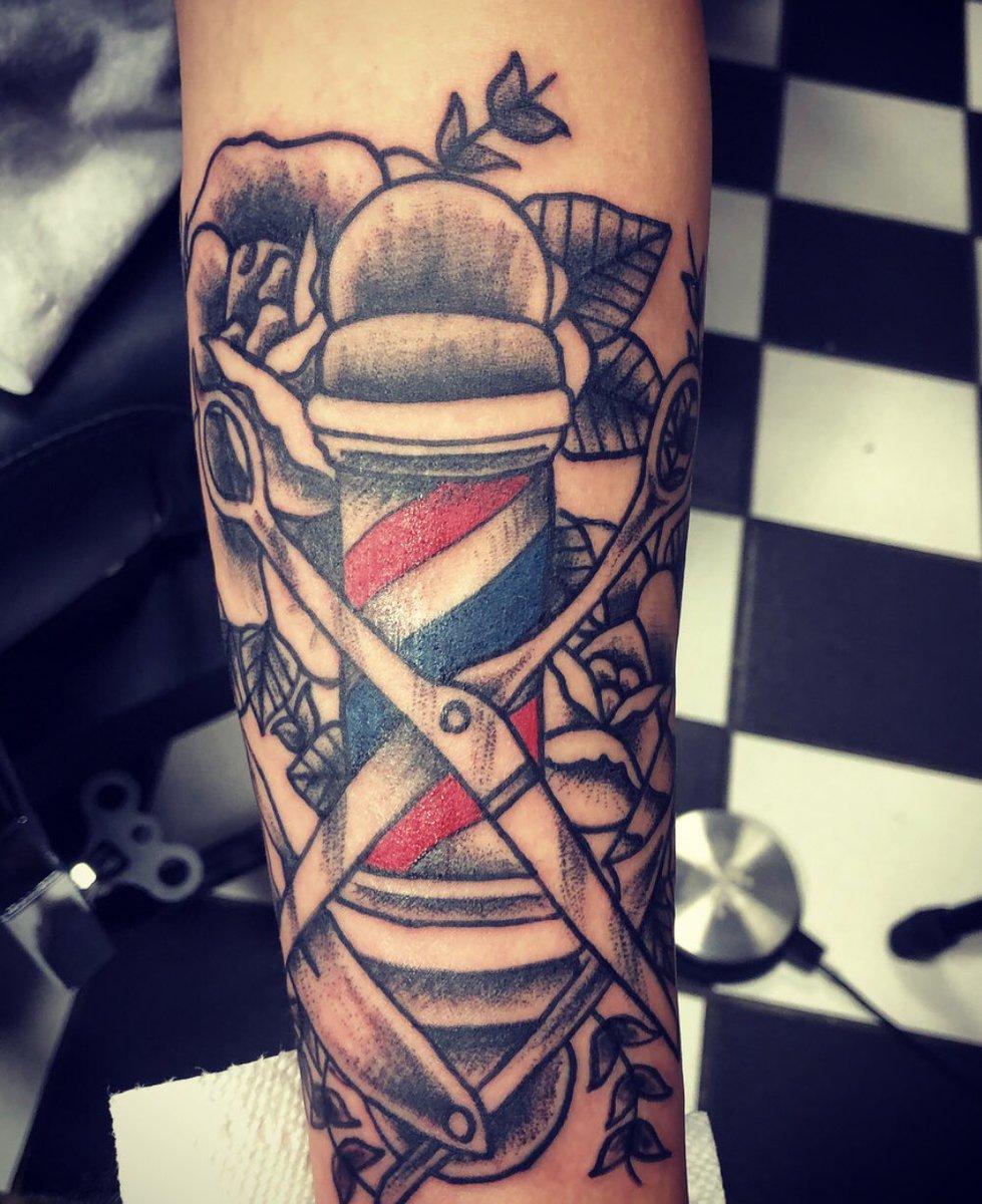 Barber Pole Tattoo : barber, tattoo, Chris, Tattoos, Twitter:,
