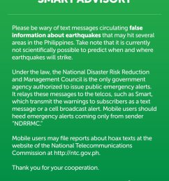please be wary of hoax text messages about earthquakes that may hit the philippines it is currently not possible to predict when and where earthquakes will  [ 947 x 1200 Pixel ]