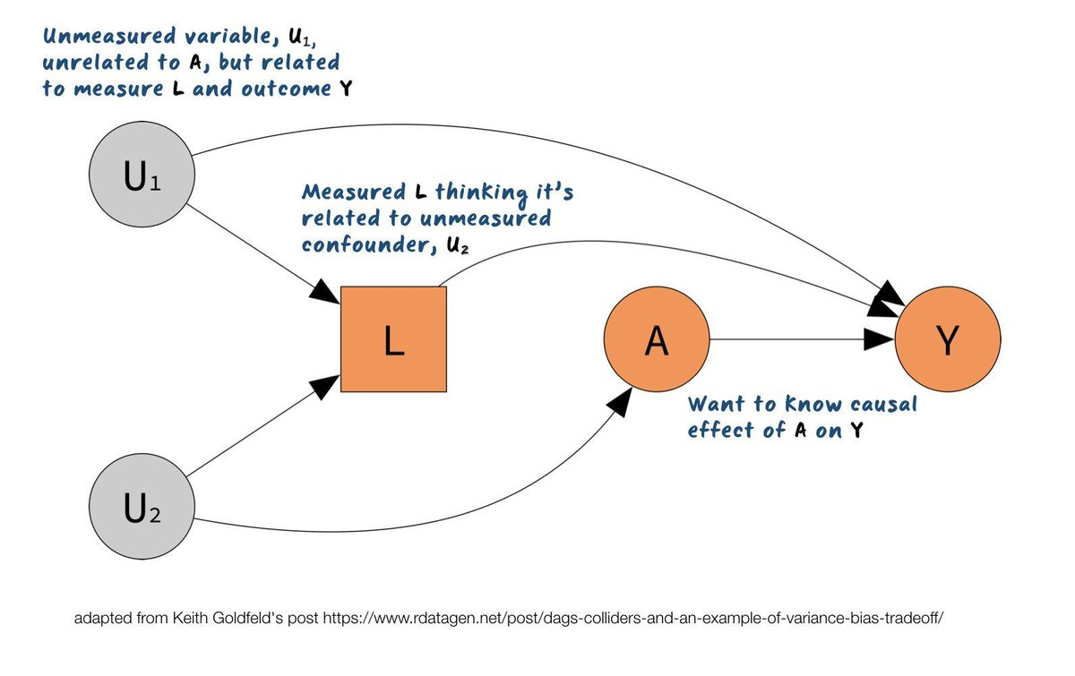 hight resolution of dag looking at causal effect of a on y with measured l thinking it s related to