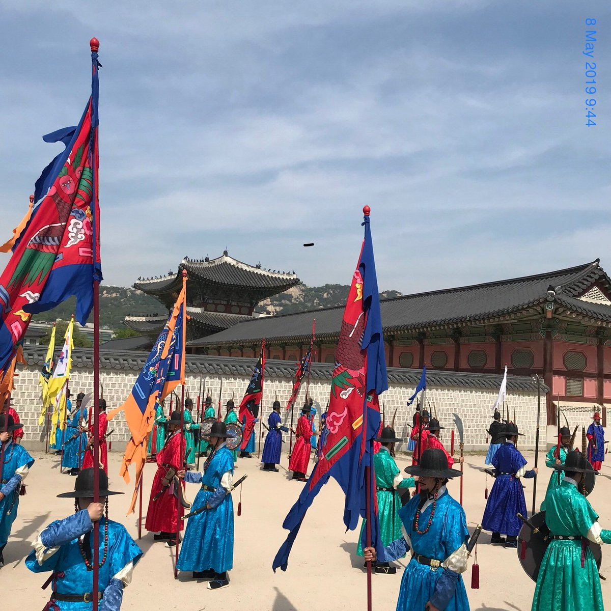 Guards training at Gyeongbokgung royal palace, the largest of five grand palaces in Seoul, built 1395