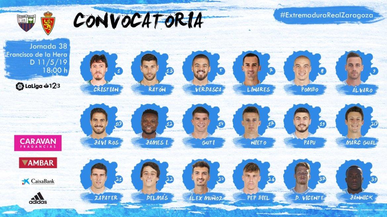 Convocatoria de 18 del Real Zaragoza ante el Extremadura