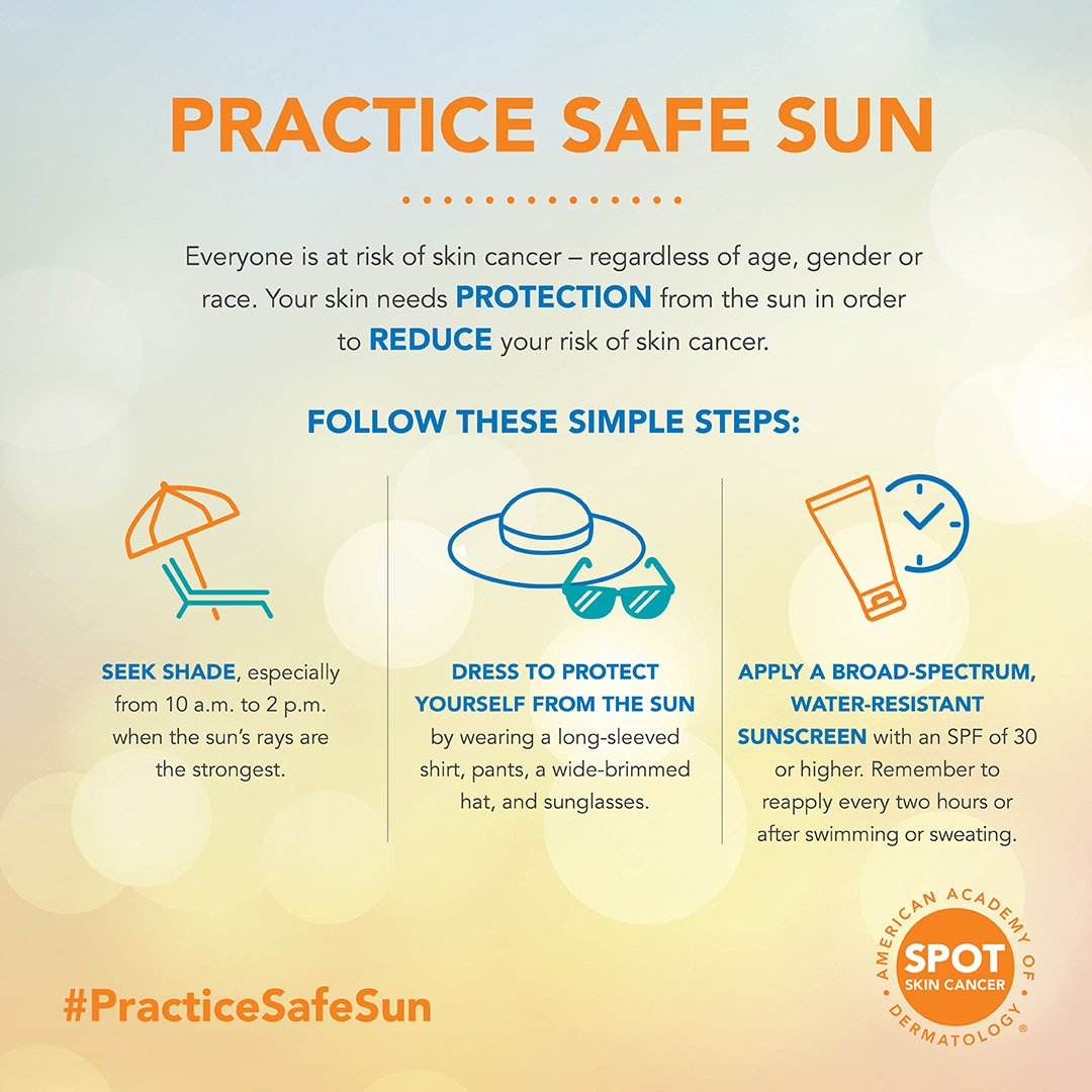 hight resolution of share this infographic with your patients to remind them to practice safe sun to reduce their risk of skincancer https bit ly 2w4thqw