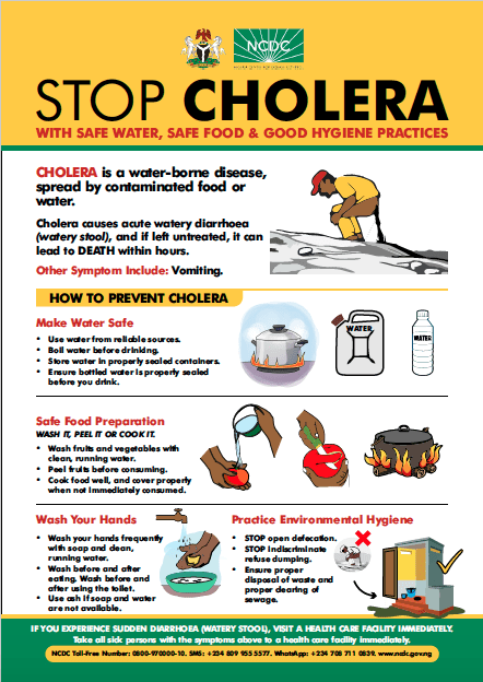 """NCDC on Twitter: """"Think you or a member of your family may have #Cholera? Seek medical attention IMMEDIATELY. Dehydration can be rapid so fluid replacement is essential. Successful treatment is possible through"""