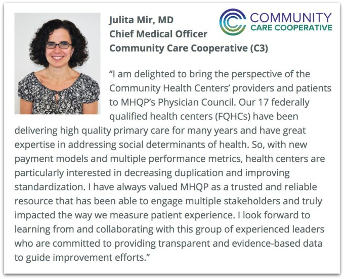 East Boston Neighborhood Health Center On Twitter Our Aco Community Care Cooperative C3 Has Joined The Physician Council Of Massachusetts Health Quality Partners Mhqp Julita Mir Md Cmo Of C3 I M Delighted