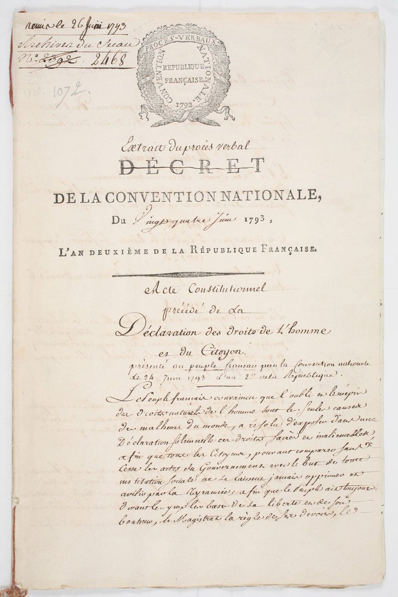 Constitution Du 24 Juin 1793 : constitution, Archives, Nationales, Twitter:, @ArchivesnatFr, Conservent, Constitution, Précédée, Déclaration, Droits, L'homme, Citoyen, Datant, #24juin, 1793., #CeJourLa, Https://t.co/zHvK9Hu7YI…, Https://t.co/21o0Y6w6fi