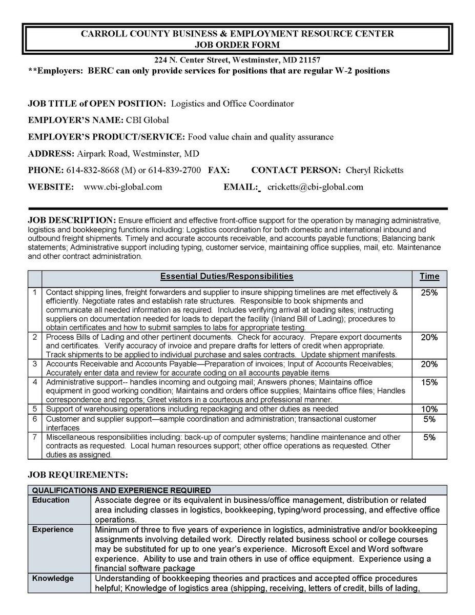 Berc On Twitter Job Opportunity Office Coordinator Logistics Bank Manager Job  Description   Maintenance Coordinator Job