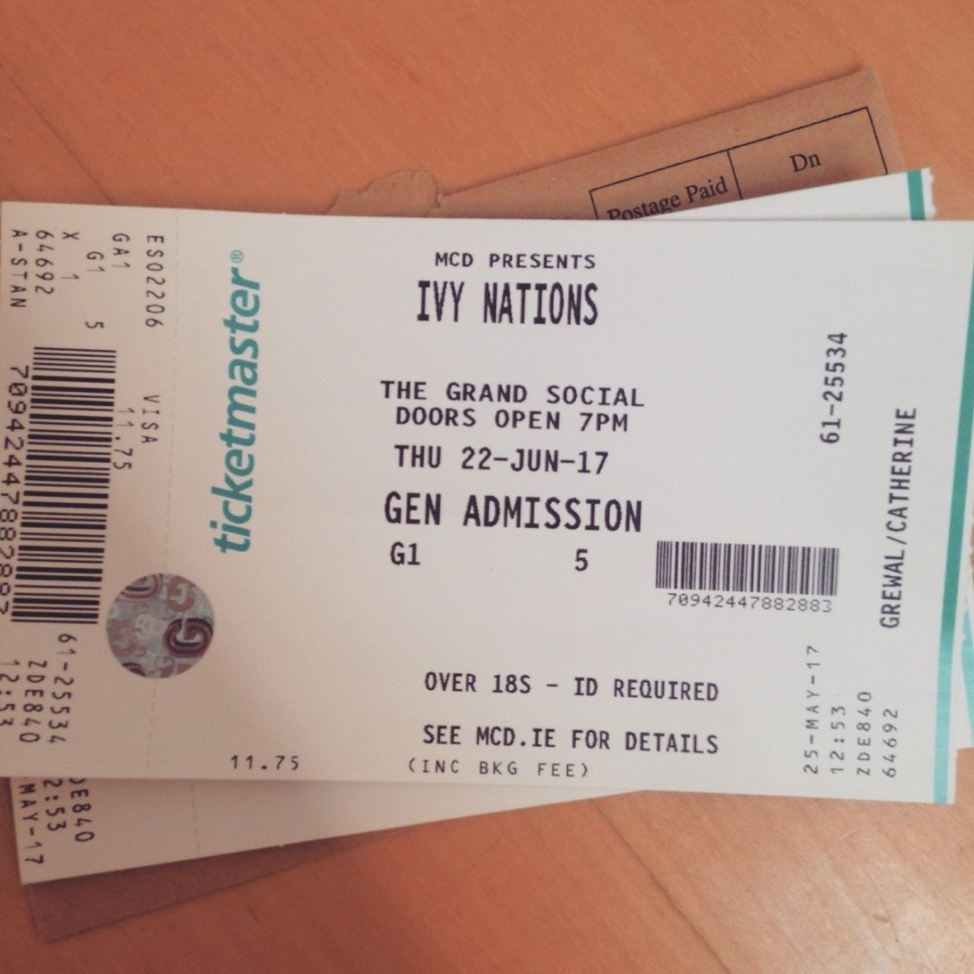 Got my @IvyNations ticket for @thegrandsocial today! https://t.co/A4qxx88epw