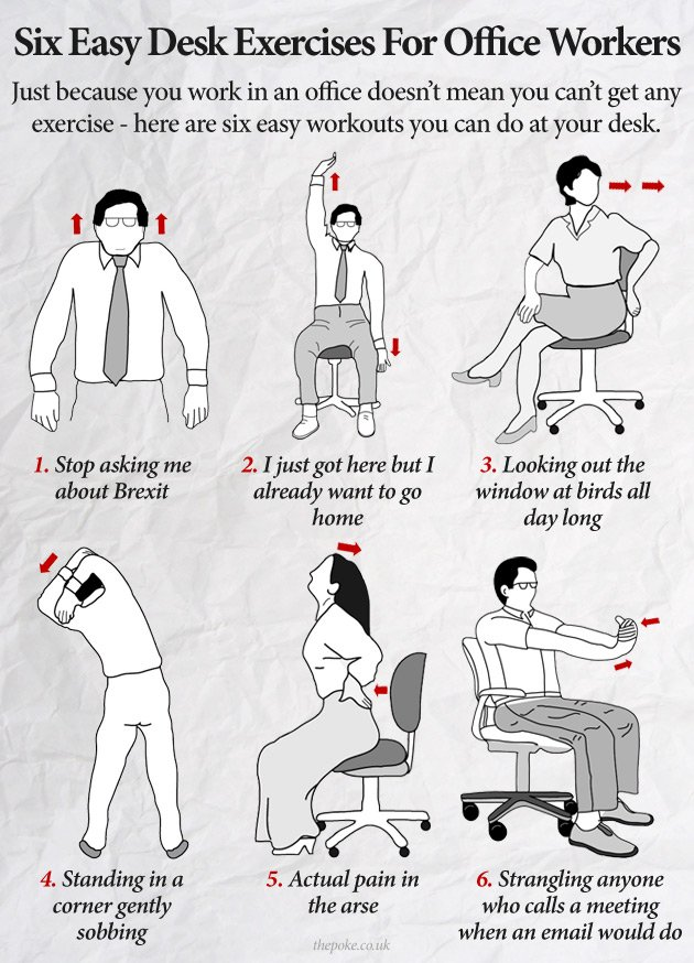 Six easy desk exercises for office workers  scoopnestcom