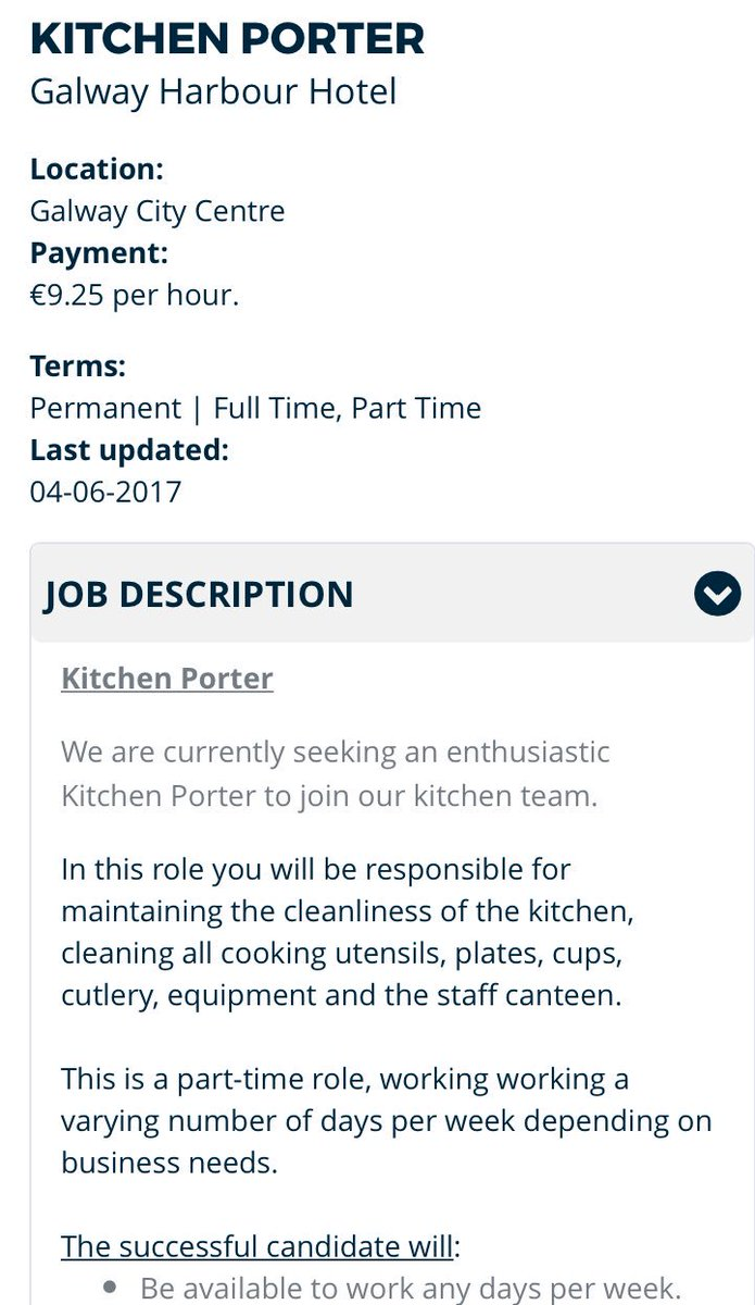 Kitchen Porter Wanted At The Galway Harbour Hotel Link To Apply:  Https://www.jobs.ie/applyforjob.aspx?id=1622556 …pic.twitter.com/lsel3Rrlpm