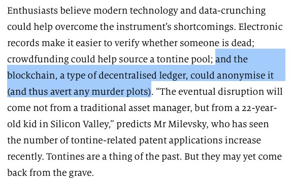 How blockchain can prevent murder plots in your tontine