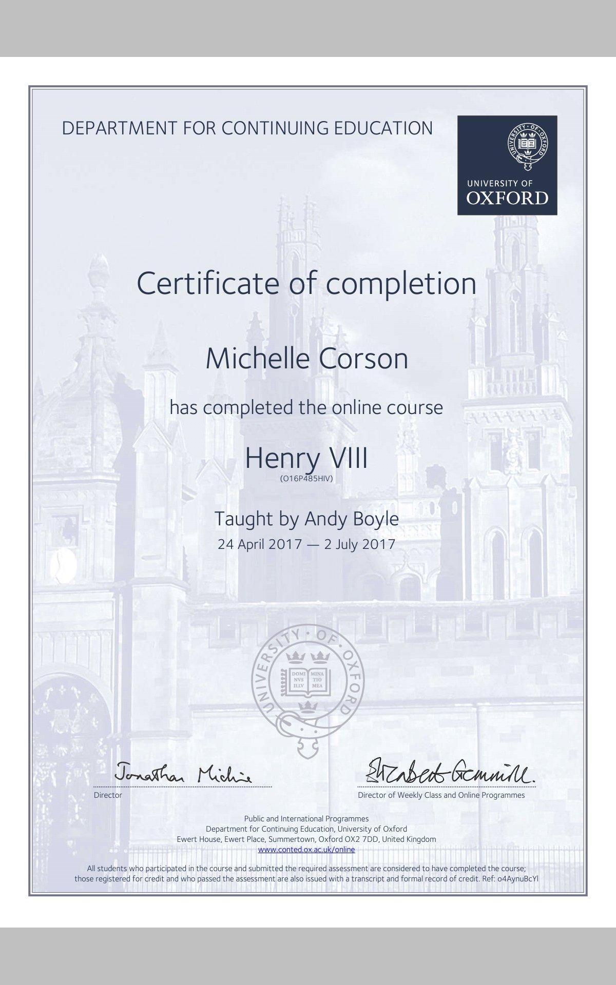 certificates sample