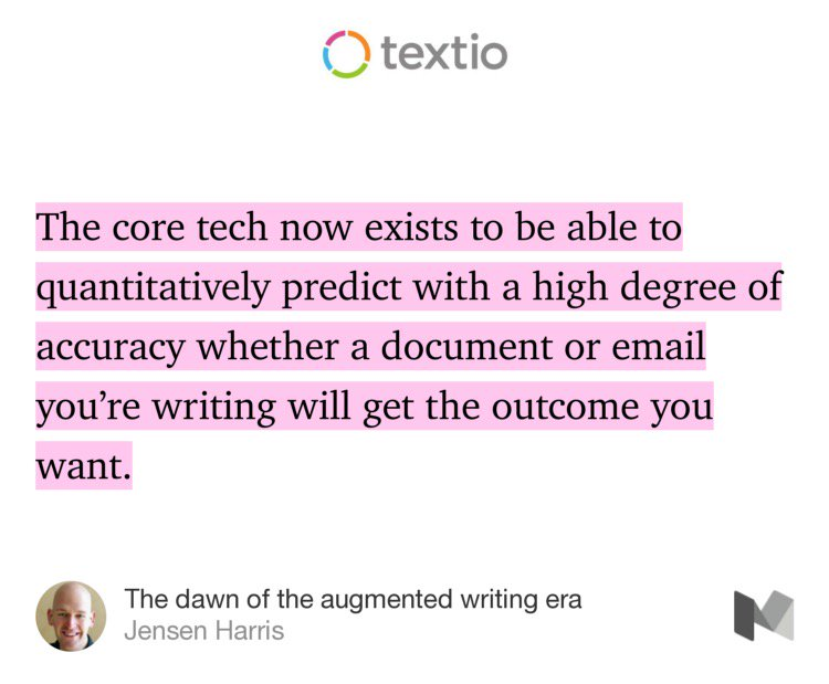 Product genius @jensenharris @textio writes how machine learning is fundamental to writing.