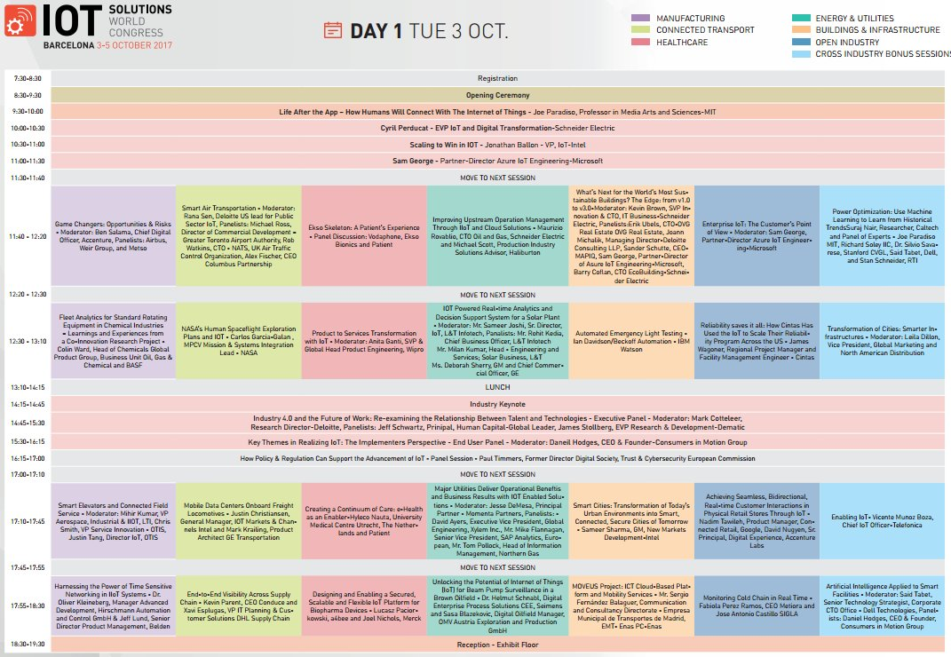 Draft Agenda for #IoTSWC17 is ready! Check the 3-day #Congress Programme here:  #IoT