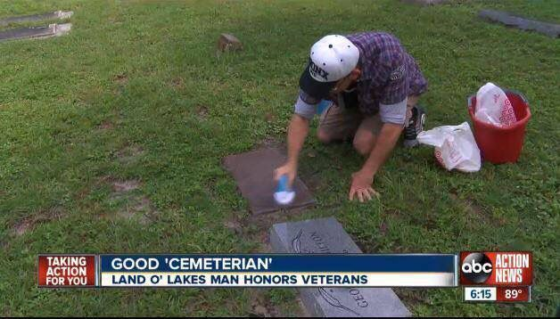 Carpet cleaner scrubs veterans' grave stones at cemeteries his spare time Watch: