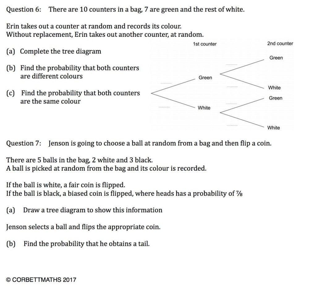 medium resolution of corbettmaths on twitter new textbook exercise tree diagrams https t co 5ay485ctuk