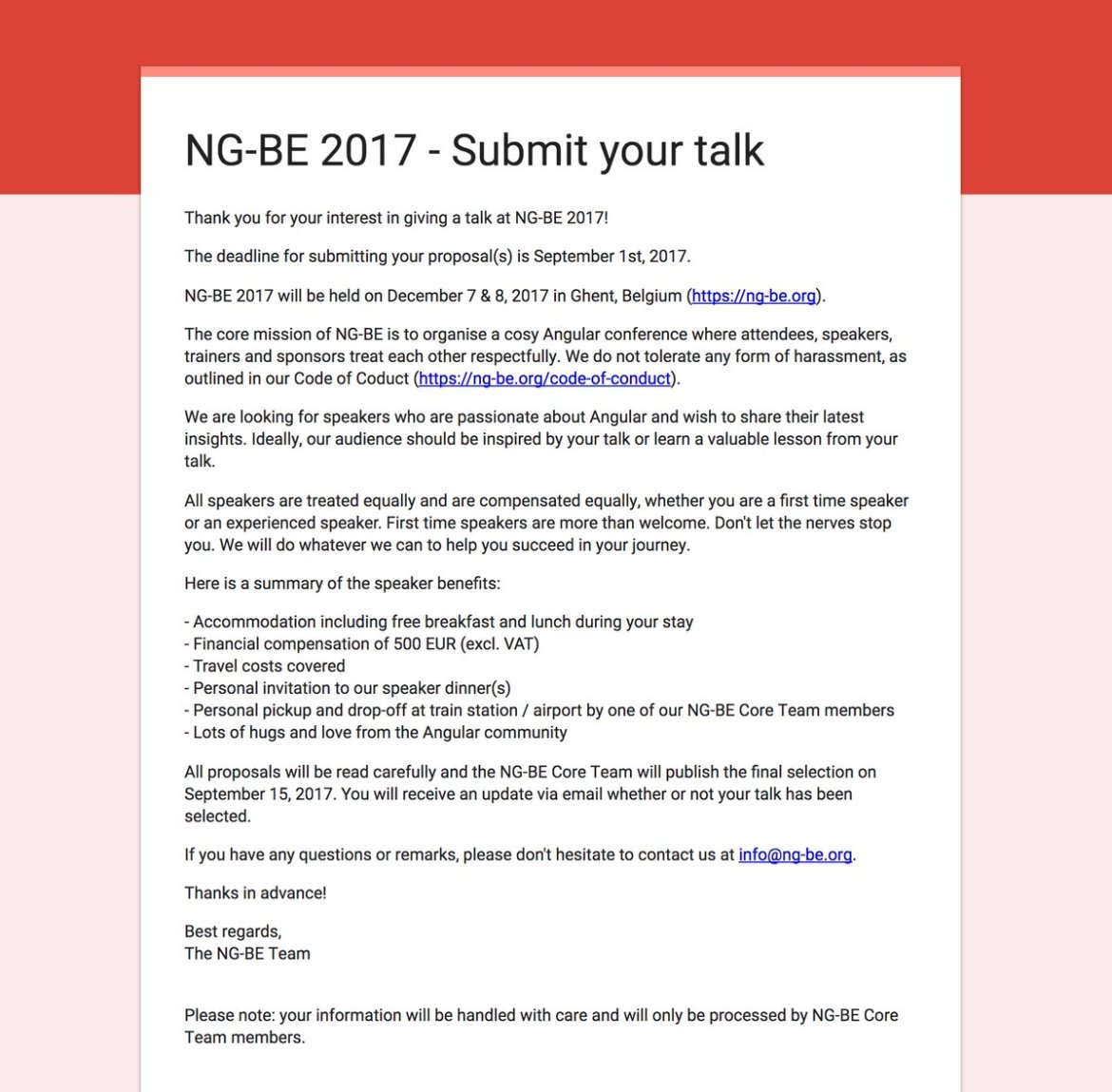 Want to speak at NG-BE 2017? Submit your proposal before September 1st, 2017: . #angular