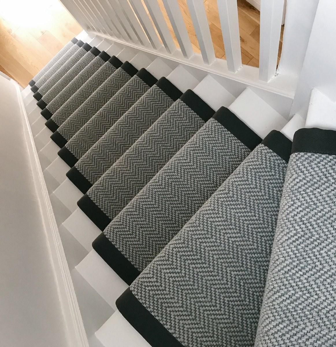Woven Woods On Twitter Our Hardwearing Herringbone Grey | Grey Herringbone Carpet Stairs | Antelope | Victorian | Middle Stair | Roger Oates | Blue
