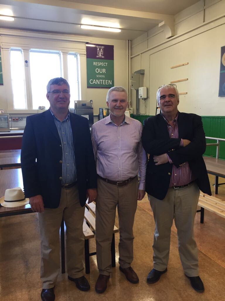 A reunion of three past pupils. John Hunt (left), John MacEvilly and Joe Hunt, two classmates who had not met for 40 years! Great memories