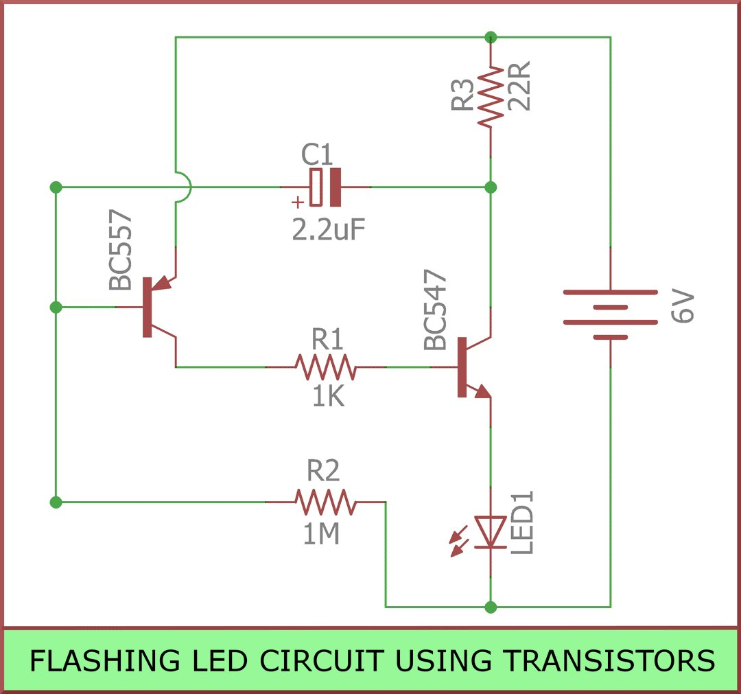 hight resolution of  blinkingled is a circuit you can build to flash leds it is built using transistors resistors capacitors leds https goo gl uodatt pic twitter com