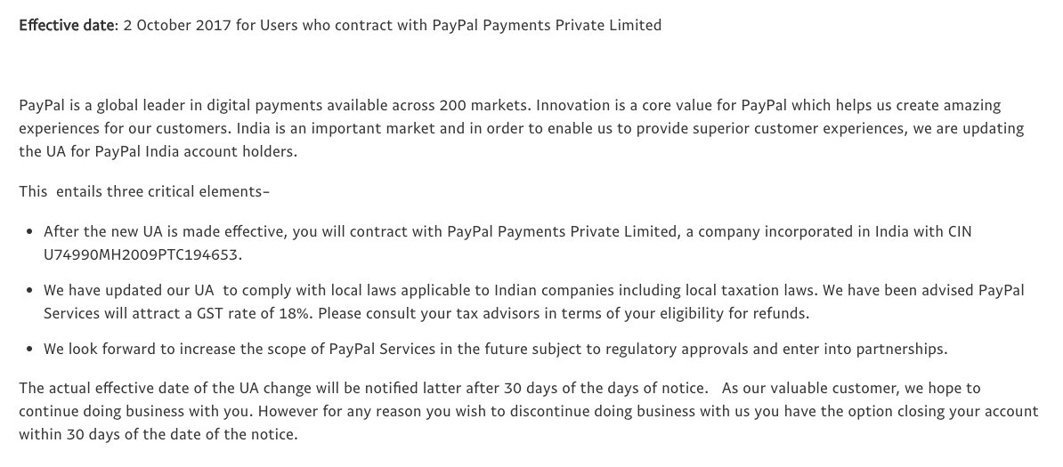 """Amit Bhawani on Twitter: """"PayPal Services will attract a GST rate of ..."""