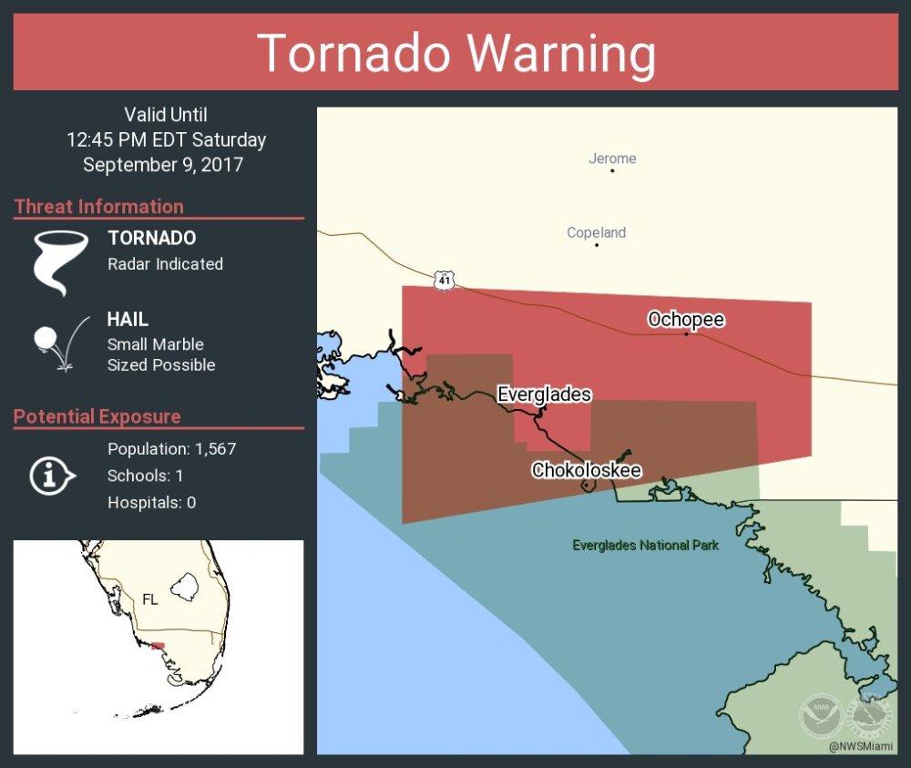 medium resolution of tornado warning including everglades fl chokoloskee fl ochopee fl until 12 45 pm edt