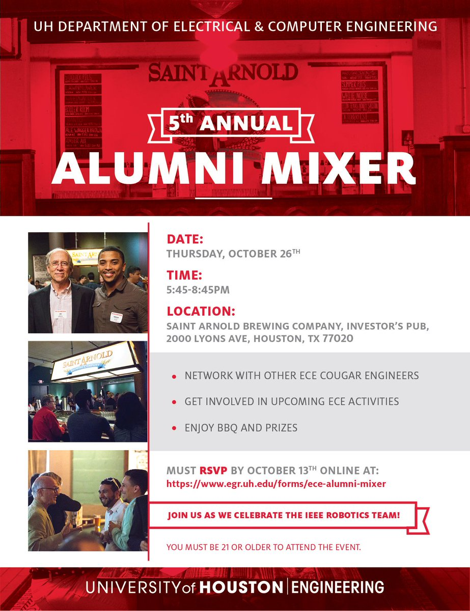 medium resolution of attn uh electrical and computer engineers the ece alumni mixer will be held on october 26 at saint arnold s brewery