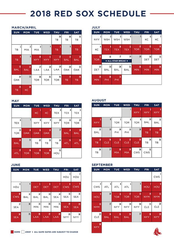 red sox schedule # 19