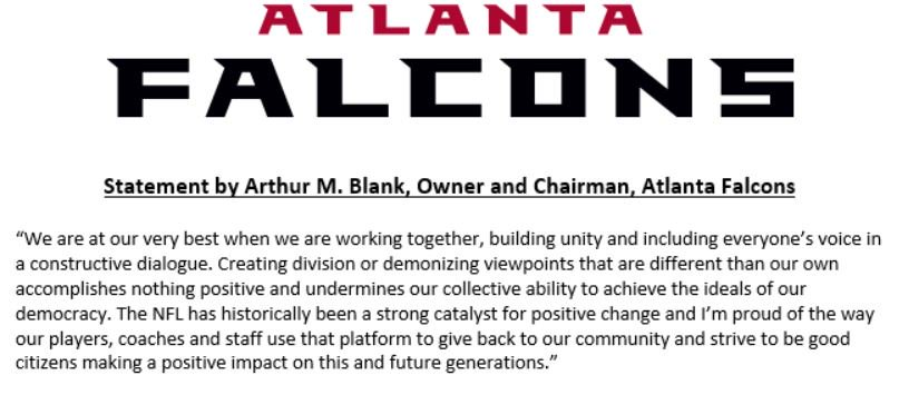 Atlanta Falcon's statement