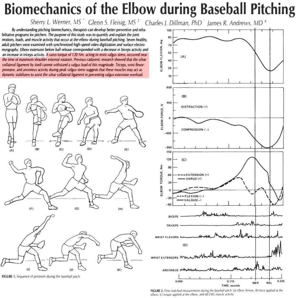 medium resolution of brent pourciau on twitter study 82mph fastball 120nm of varus torque on elbow which tore ucl of cadaver flexor mass and tricep muscles helped prevent