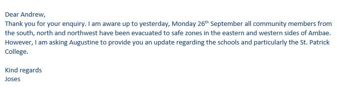 Prayers for the safety of those evacuated due to the volcano. Update from ACoM Vanuatu
