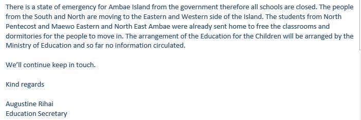 Ambae volcano update