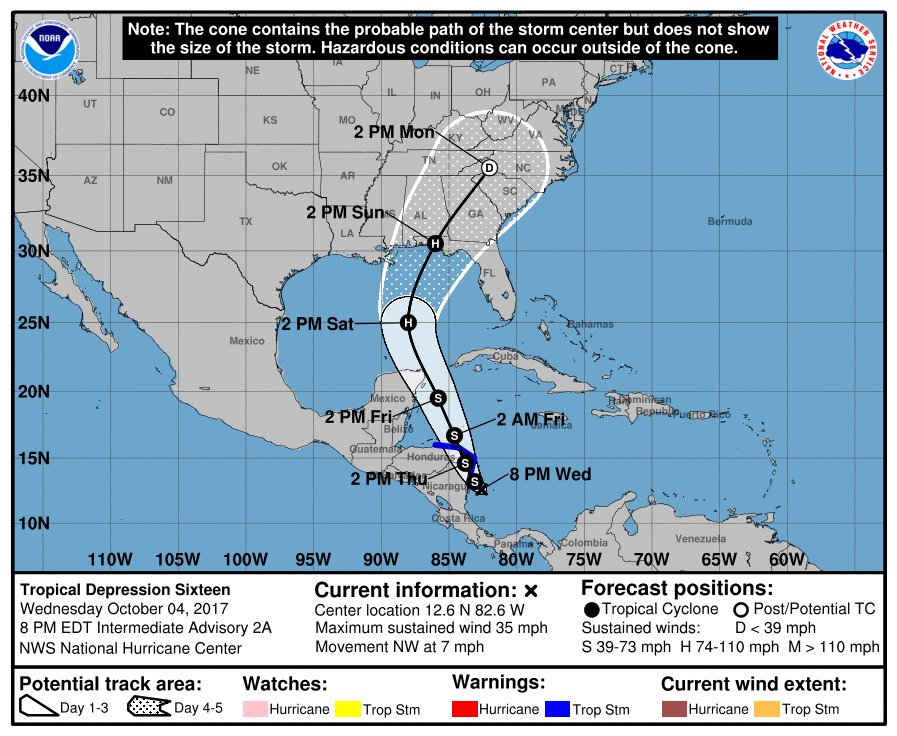 System strengthens into Tropical Depression 16, could become Tropical Storm Nate: