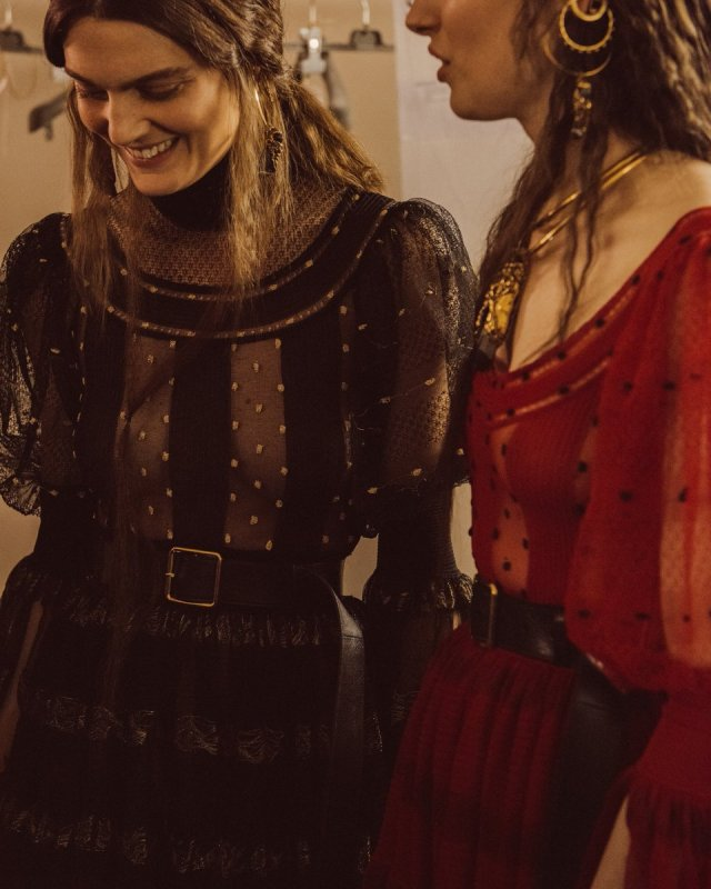 Lace dresses with intarsia polka dots. Discover the collection:...
