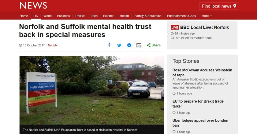 BBC News: Norfolk and Suffolk mental health trust back in special measures  #NSFTCrisis