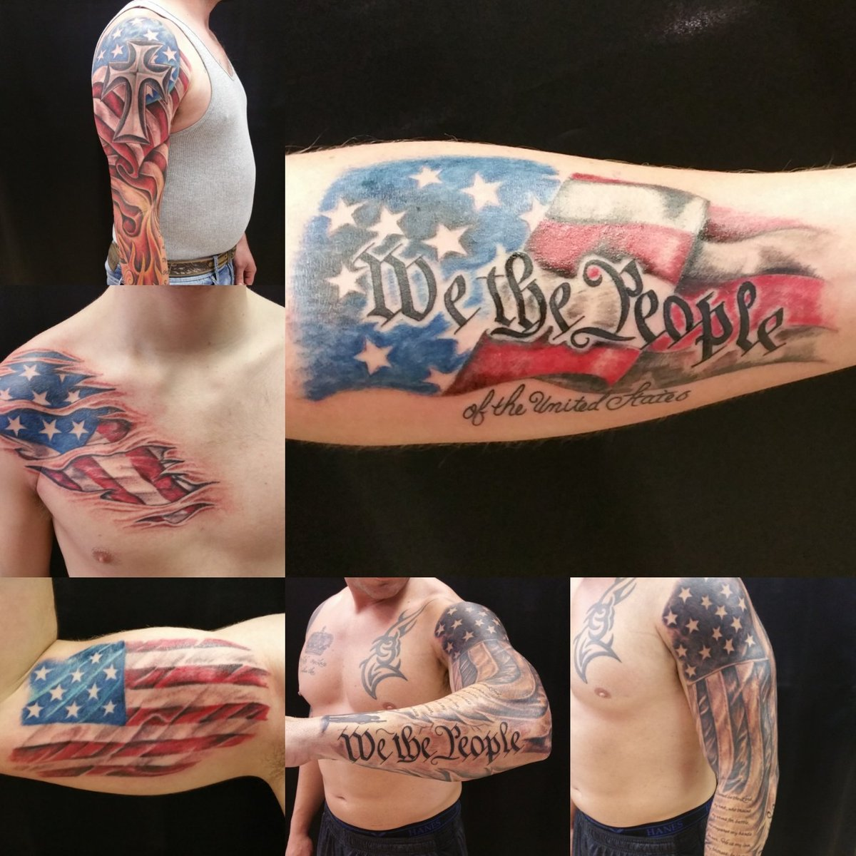 Ripped Skin Texas Flag Tattoo