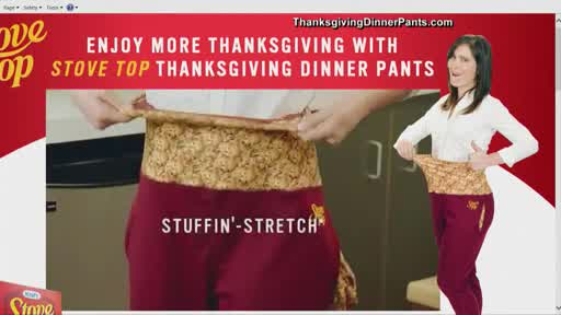 Stove Top selling 'Thanksgiving Dinner Pants' with stretch waistband