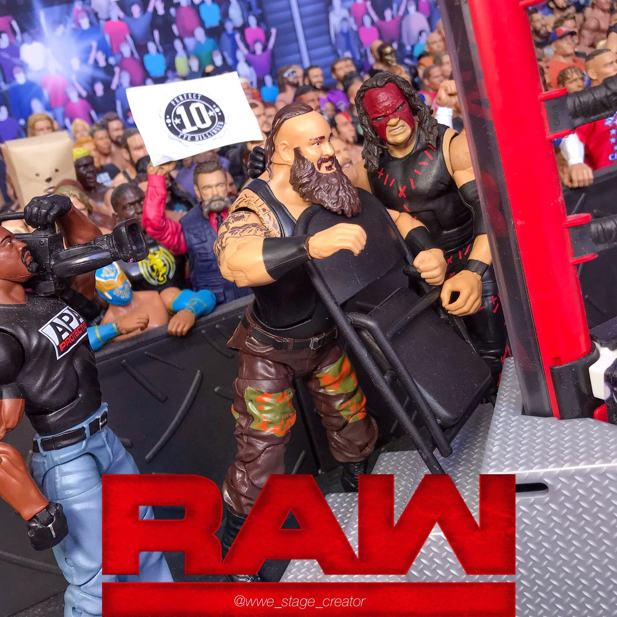 steel chair in wwe purple desk stage creator on twitter kane crushes the throat of braunstrowman with a raw kanewwepic com lfp23xjwuu