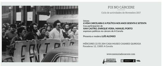 test Twitter Media - Mañana miércoles Luís Alonso, Xan María Castro, Enrique Veira y Manuel Porto, expresos en los 60 en la cárcel de Coruña, conversan sobre la vida carcelaria y política. https://t.co/fTINd2afUG