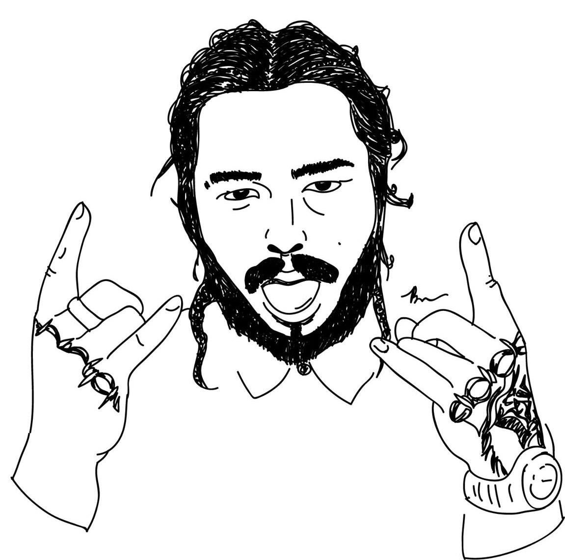 Post Malone Drawing Black And White ~ Drawing Tutorial Easy