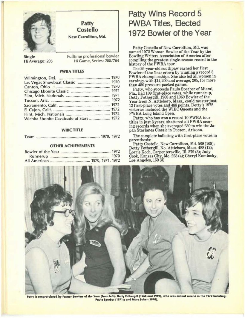 test Twitter Media - Check out the bio page of USBC and PWBA Hall of Famer Patty Costello in today's #ThrowbackThursday photo which comes from the 1973 PWBA Program.   #PWBATour #TBT https://t.co/qNKz4fFeje