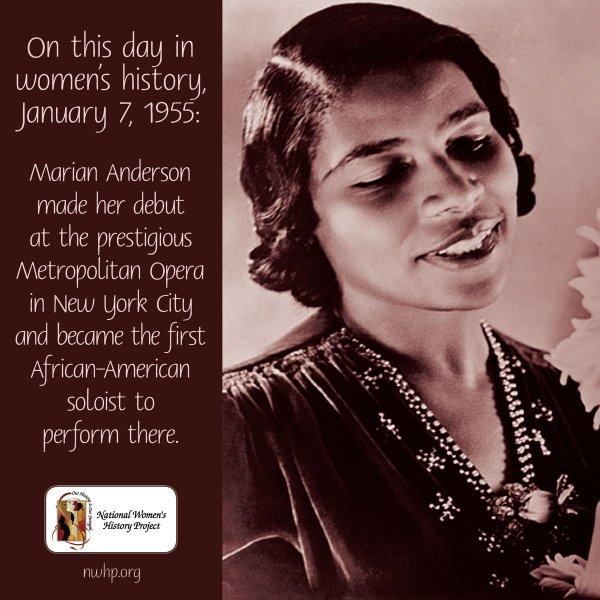 """National Women' History Project Twitter """" Day In #womenshistory January 7 1955"""
