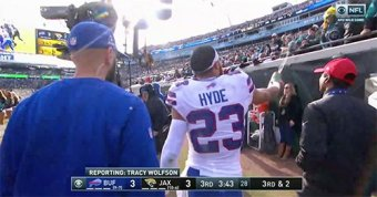 Micah Hyde Sprays Jags Fan With Water On His Way Into The Locker Room