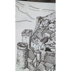 Medieval Village Drawing 6