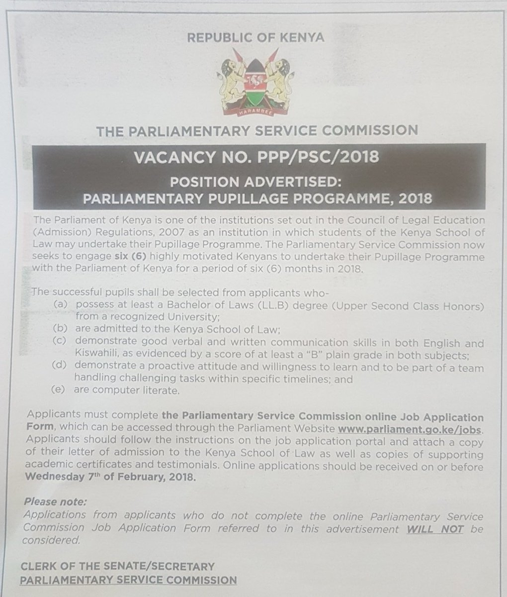 Parliamentary Service Commission Is Hiring