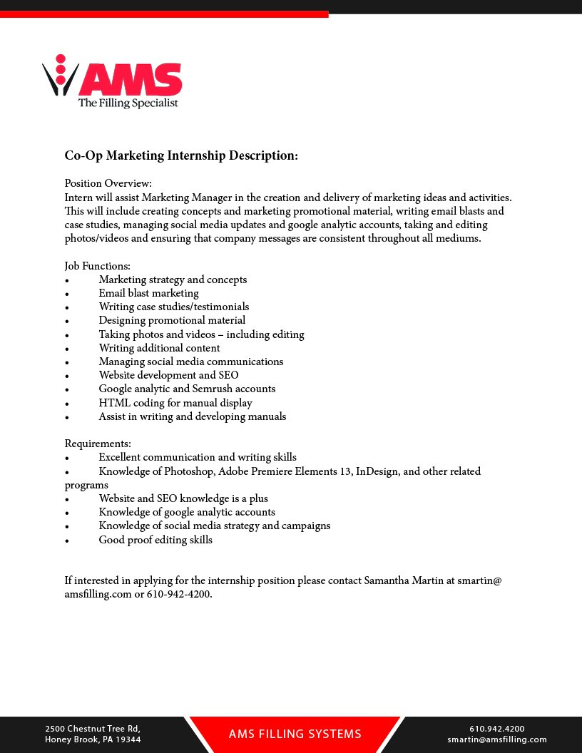 We Are Looking For A New Marketing Intern To Join Our Team! Check Out The Job  Description Below And Contact Samantha Martin At Smartin@amsfilling.com Or