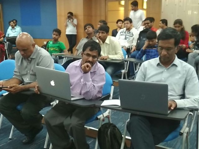 Judges panel at I-STEM Hackathon consist of George, Srinivasu and Prof. Srikanth