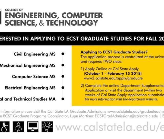 Ecst Grad Progm Coor Et A133 Www Calstatela Edu Graduateadmissions Pic Twitter Com 1cpjr3oick