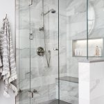 Caesarstone Usa On Twitter Kbtribechat A1 A Luxurious Shower Calls For Glass Doors Steam And A Whole Lot Of Quartz Details Exhibit A Square Footage Using Pebble For The Shower Bench And Niche