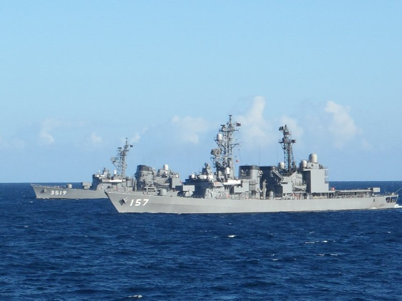 Japan Maritime Self-Defense Force (JMSDF) training vessel JS Yamayuki (TV-3519) along with Asagiri class destroyer JS Sawagiri (DD-157).